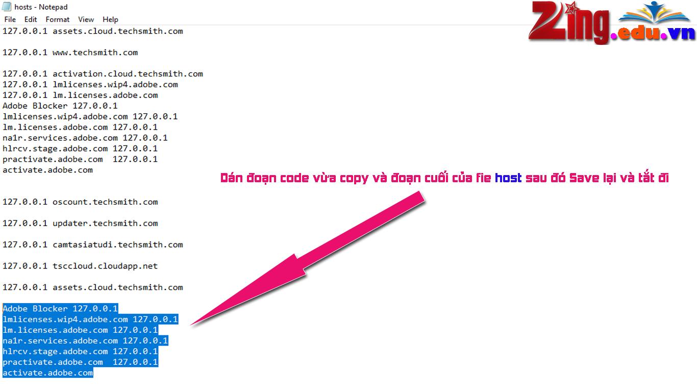 dán code vào file host