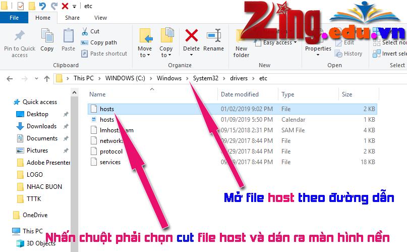 mở file host